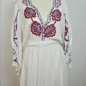 FREE PEOPLE Large boho floral gauze white dress